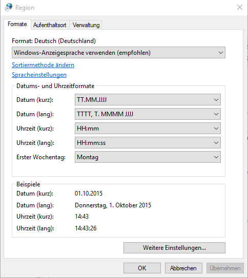 Regionseinstellungen unter Windows (10)