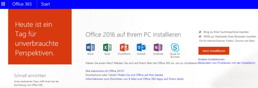 Office 365 über das Portal installieren