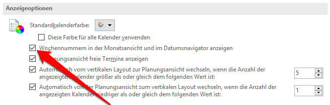 Kalenderwochen in Outlook